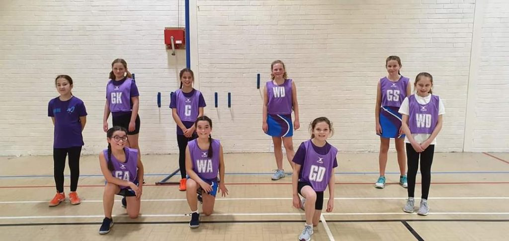Our U12s A team playing in the Elite Netball Academy League